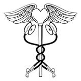 Heart Caduceus Stethoscope Medical Icon Concept stock illustration