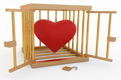 Heart in a Cage. Red heart in a gold cage Royalty Free Stock Image