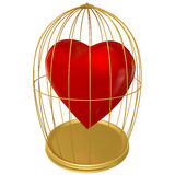 Heart in a cage. Red heart covered in a golden cage on a white background Stock Photo