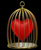 Heart in cage. Red heart in golden cage Royalty Free Stock Photos