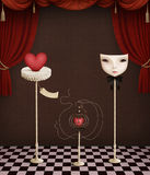 Heart in  cage and Mask Stock Images
