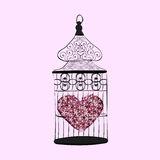 Heart in a cage symbol separation love Royalty Free Stock Images