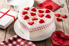 Free Heart Cake For St. Valentine`s Day, Mother`s Day, Or Birthday, Decorated With Sugar Hearts Royalty Free Stock Photos - 205963718
