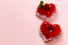 Heart cake with raspberries dessert for Valentine Stock Image