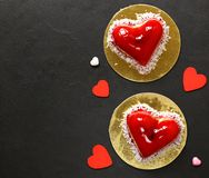 Heart cake with raspberries for Valentine Stock Photo