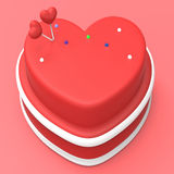 Heart Cake Represents Valentines Day And Gateau Stock Photo