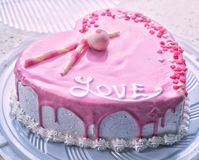 Heart cake for valentine& x27;s day stock images