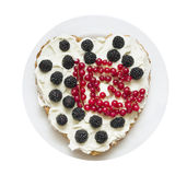 Heart cake, whipped cream and berries,  isolated Royalty Free Stock Photography