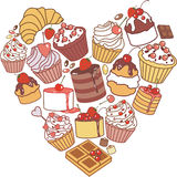 Heart of cakes Stock Images