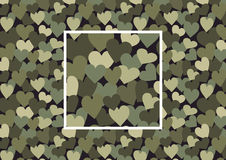 Heart camouflage. Camouflage consisting of hearts, vector seamless pattern with square sample in swatches stock illustration