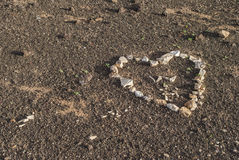 Heart on canarian sand Stock Photos