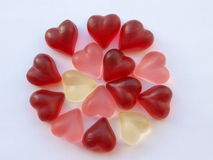 Heart candies in circle Royalty Free Stock Photos