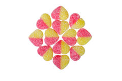 Heart candies. Coated with sugar on white background. sweet hearts for Valentine`s Day Royalty Free Stock Photography