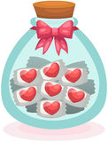 Heart candies in the cute bottle Royalty Free Stock Photo