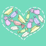 Heart from candies Royalty Free Stock Images