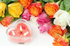 Heart candle and roses Stock Photo