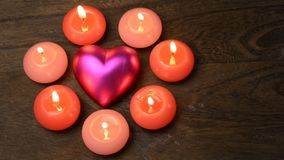 Heart and candles stock footage
