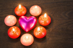 Heart and candles Royalty Free Stock Images