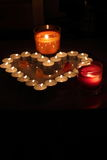Heart of candles. A sign of love. romantic evening Royalty Free Stock Photo
