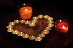 Heart of candles. A sign of love. romantic evening Royalty Free Stock Images