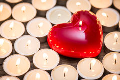 Heart with candles stock photos