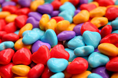 Heart candy. Bunch of heart shaped candy in various colors Royalty Free Stock Image