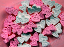 Heart candy. Pink and white heart candy Royalty Free Stock Image