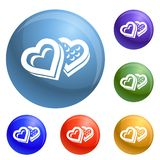 Heart candy box icons set vector royalty free illustration