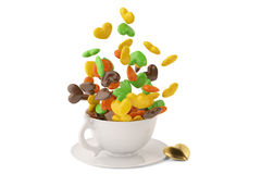 Heart candy and cup on the white background. 3D illustration. Stock Photography