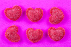 Heart candy on pink b Stock Images
