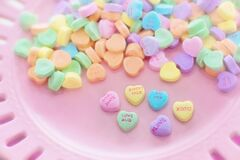 Heart candy on plate Stock Image