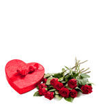 A heart with candy and roses with copy space Stock Photo