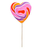Heart candy on a stick(lollipop). Colorful candy on a stick. Сaramel heart Royalty Free Stock Image
