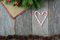 Heart Candycanes On Rustic Wood Background for the Holiday Stock Photos