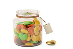 Heart candys on bottle. 3D illustration. Royalty Free Stock Image