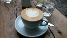 Heart cappucino. Cappucino with a heart shape milk Royalty Free Stock Image