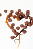 Heart of caramel, chocolate and balls. Heart of caramel and chocolate on a white background as a symbol of love Royalty Free Stock Photos