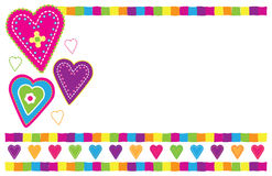 Heart Card. Bright folk art style card vector illustration