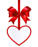 Heart card with bow  on white background Royalty Free Stock Images