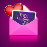 Heart and card with original hand lettering Stock Images