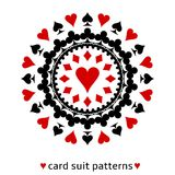 Heart card suit snowflake. Lovely heart card suit snowflake. Heart in the middle surrounded with spades, diamonds and clubs Royalty Free Stock Images