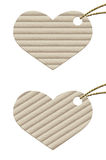 Heart. Cardboard tag with rope. Stock Image