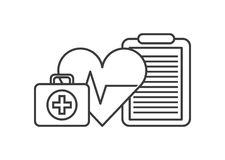Heart cardio icon. Heart cardio, first aid briefcase and medical report over white background. vector illustration Royalty Free Stock Photos