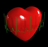 Heart with cardiogram Stock Photography