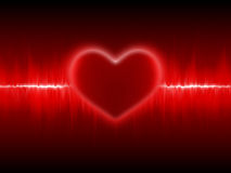 Heart cardiogram. Red heart glow cardiogram background Stock Images