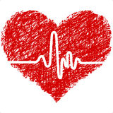 Heart with cardiogram royalty free illustration
