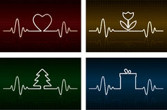 Heart cardiogram. With heart, flower, tree and gift box on it Stock Photos