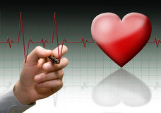 Heart cardiogram. Cardiogram on fones gradient mirror royalty free stock photo