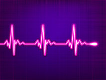 Heart cardiogram on deep fiolet. EPS 8 Stock Photos