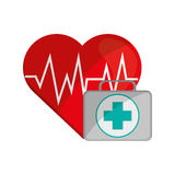Heart cardiogram and first aid kit icon Stock Photo